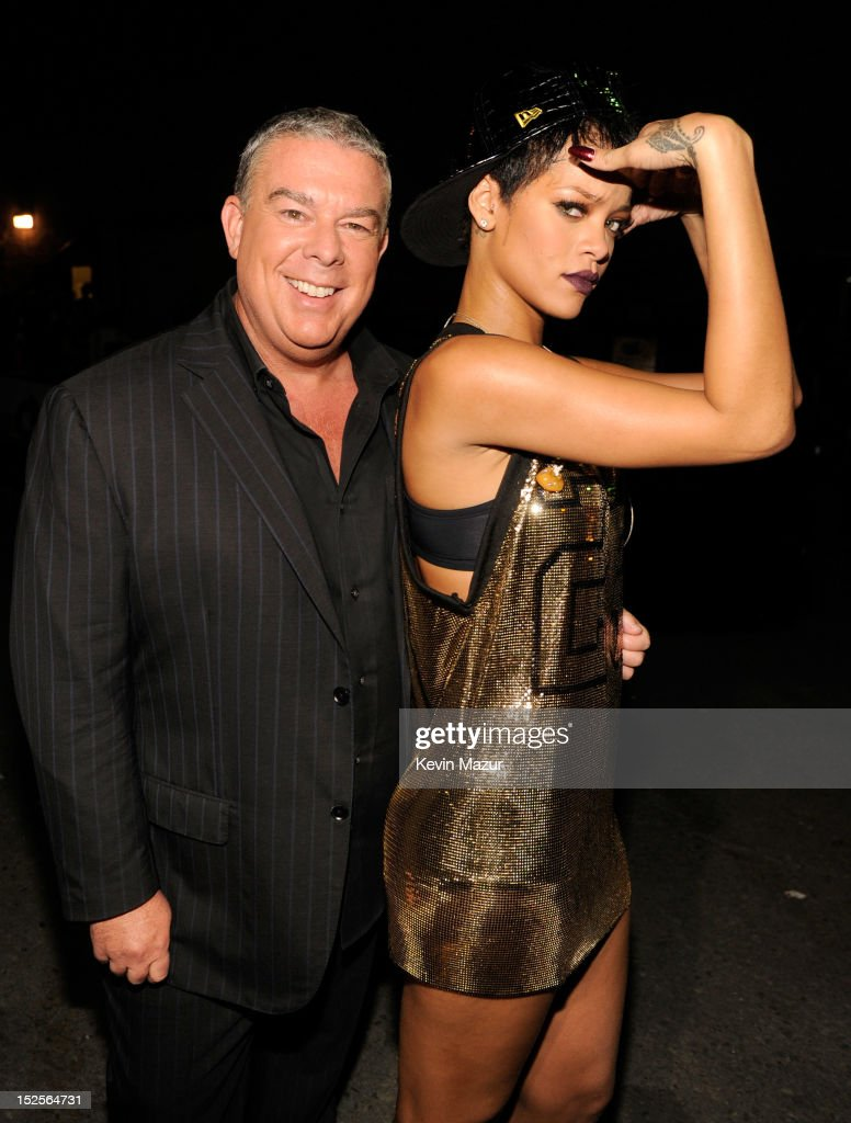 Elvis Duran and Rihanna backstage during the 2012 iHeartRadio Music Festival at MGM Grand Garden Arena on September 21, 2012 in Las Vegas, Nevada.