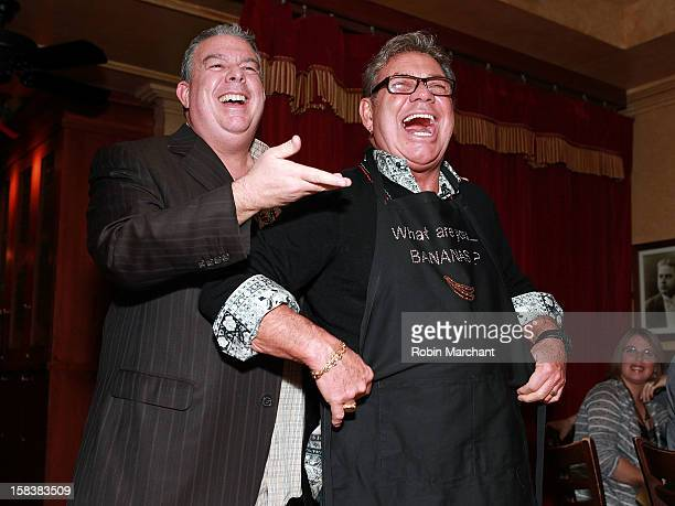 Elvis Duran and Uncle Johnny attend Elvis Duran Morning Show Holiday Party at Carmine's on December 14 2012 in New York City