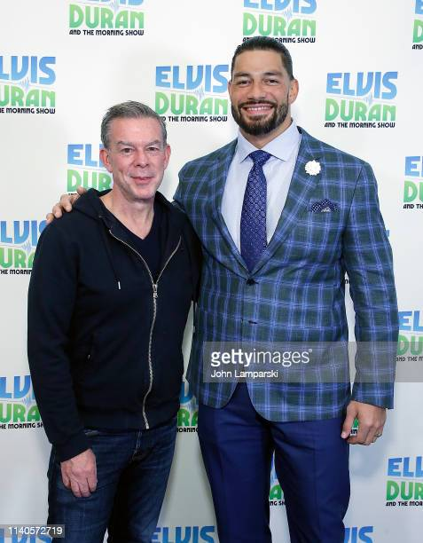 Elvis Duran and WWE Star Roman Reigns visit The Elvis Duran Z100 Morning Show at Z100 Studio on April 05 2019 in New York City