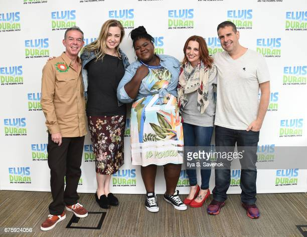 Elvis Duran Bethany Watson actress Gabourey Sidibe Danielle Monaro and Skeery Jones pose during The Elvis Duran Z100 Morning Show at Z100 Studio on...