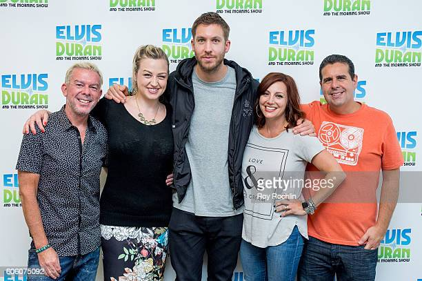 DJ Elvis Duran Bethany Watson Danielle Monaro and Skeery Jones with Musician Calvin Harris as he visits The Elvis Duran Z100 Morning Show at Z100...