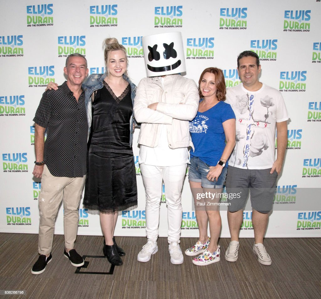 Elvis Duran, Bethany Watson, Marshmello,Danielle Monaro and Skeery Jones pose at 'The Elvis Duran Z100 Morning Show' at Z100 Studio on August 21, 2017 in New York City.