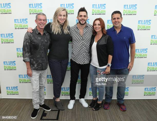 Elvis Duran Bethany Watson Thomas Rhett Danielle Monaro and Skeery Jones pose for a group photo at The Elvis Duran Z100 Morning Show at Z100 Studio...