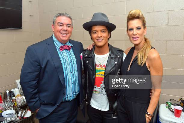 Elvis Duran Bruno Mars and Ellen K attend the iHeartRadio Music Festival at the MGM Grand Garden Arena on September 21 2013 in Las Vegas Nevada