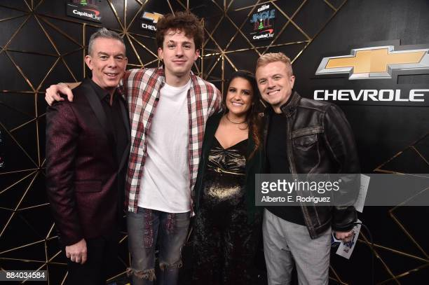 Elvis Duran Charlie Puth Sisanie and JoJo Wright pose in the press room during 1027 KIIS FM's Jingle Ball 2017 presented by Capital One at The Forum...