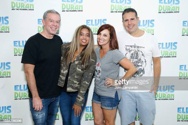 Elvis Duran Danielle Monaro and Skeery Jones pose with Cohost Medha Gandhi as she joins The Elvis Duran Z100 Morning Show at Z100 Studio on September...