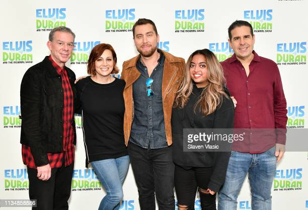 Elvis Duran Danielle Monaro Lance Bass Medha Gandhi and Skeery Jones pose for photos at The Elvis Duran Z100 Morning Show at Z100 Studio on April 4...