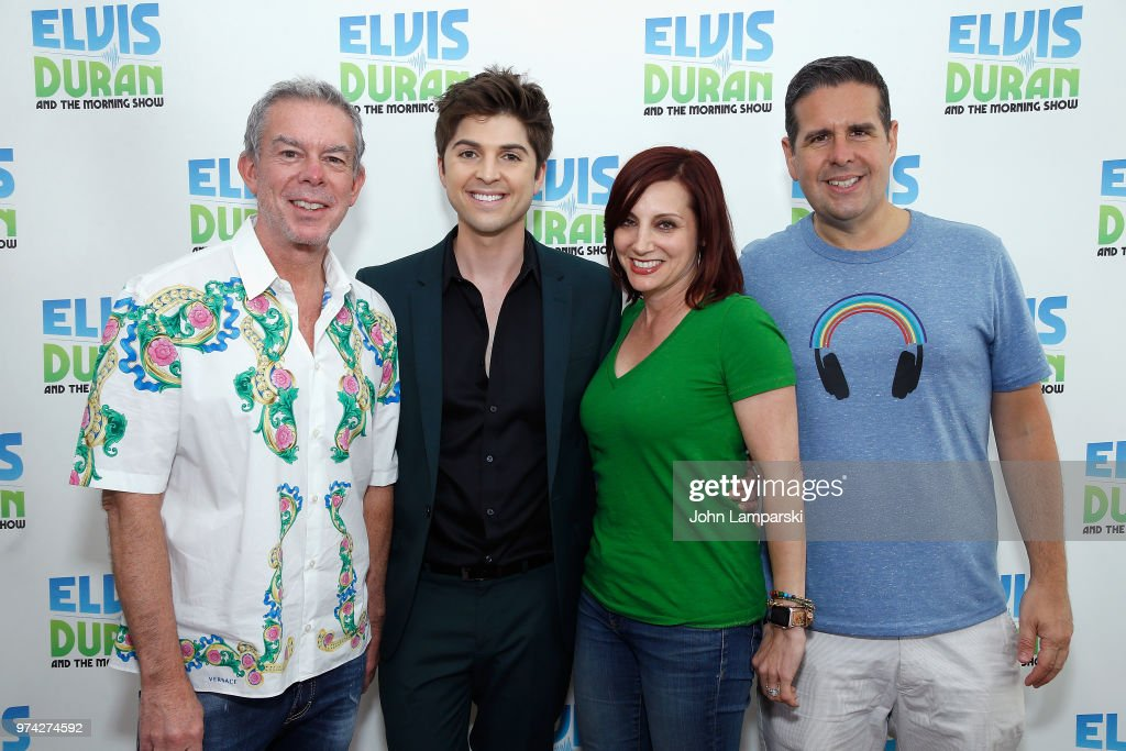 Elvis Duran, Danielle Monero and Skeery Jones pose as singer Cole Redding (2nd from left) visits 'The Elvis Duran Z100 Morning Show' at Z100 Studio on June 14, 2018 in New York City.