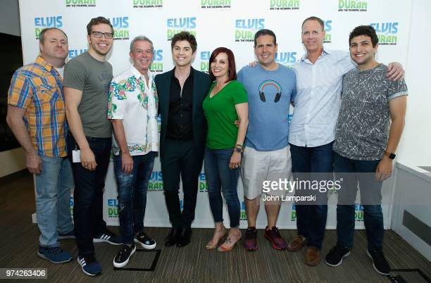 Elvis Duran Danielle Monero Skeery Jones and crew pose as singer Cole Redding visits 'The Elvis Duran Z100 Morning Show' at Z100 Studio on June 14...