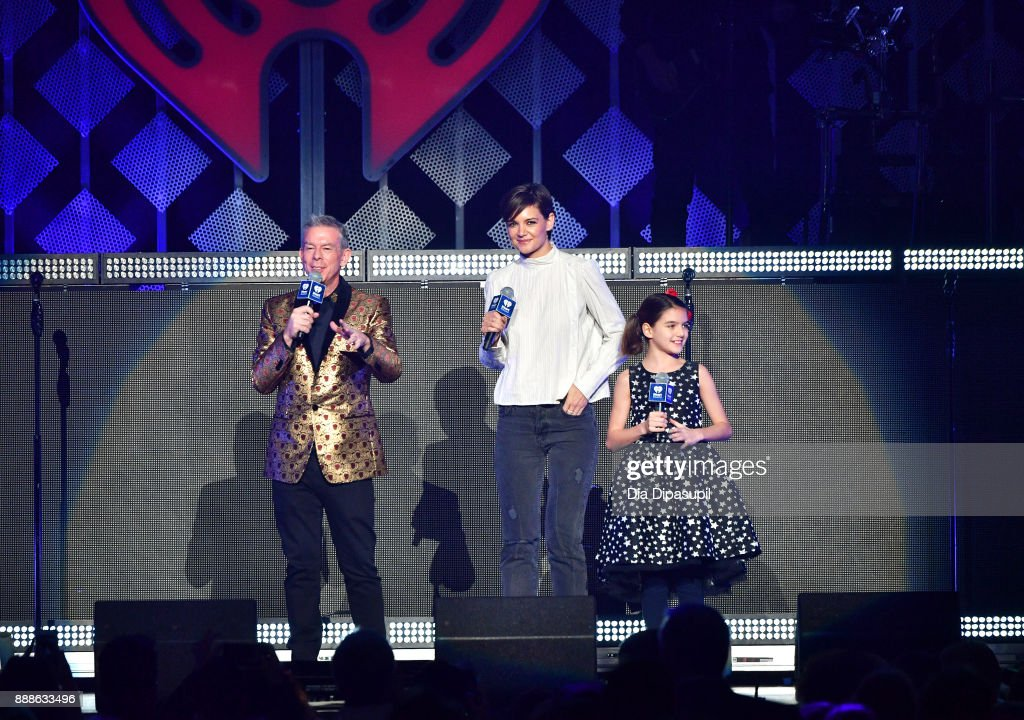 Elvis Duran, Katie Holmes and Suri Cruise speak performs onstage at the Z100's Jingle Ball 2017 on December 8, 2017 in New York City.