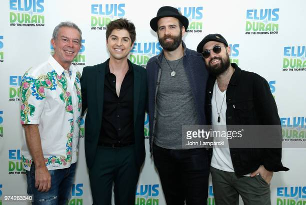 Elvis Duran poses as singer Cole Redding Greg Mayo and David Farrell Melton visit 'The Elvis Duran Z100 Morning Show' at Z100 Studio on June 14 2018...