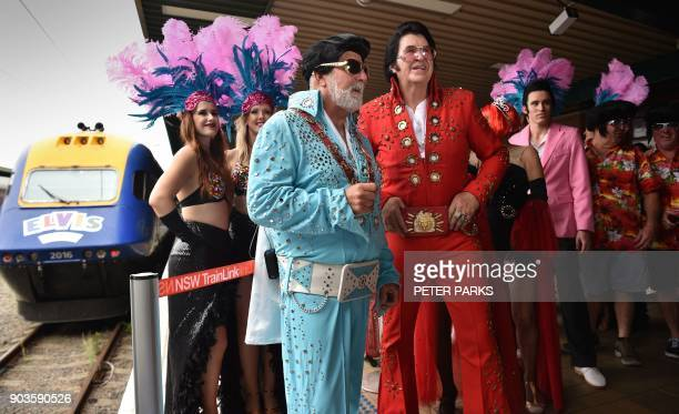 Elvis fans arrive at Central station before boarding a train to The Parkes Elvis Festival in Sydney on January 11 2018 The Parkes Elvis Festival is...