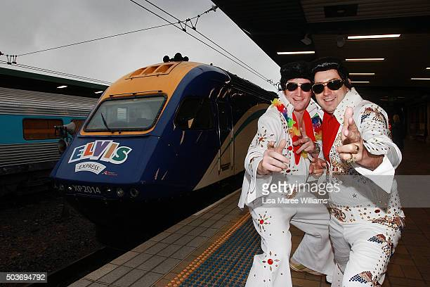 Elvis fans Daniel Rawsthorne and Angus Wyllie pose at Central Station prior to boarding the 'Elvis Express' on January 7 2016 in Sydney Australia The...