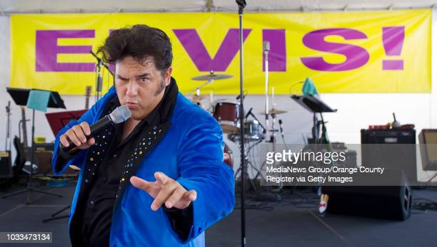 Elvis impersonator Martin Anthony woos the crowd during the 17th Annual Elvis Festival in Garden Grove on Sunday ÒThe King Lives On' paid tribute to...