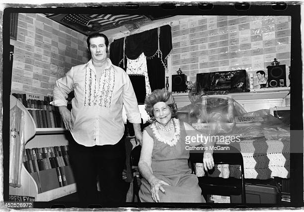 Elvis impersonator Paul McLeod and his mother at his home 24 hour Elvis Presley museum Graceland Too in 1989 in Holly Springs Miss