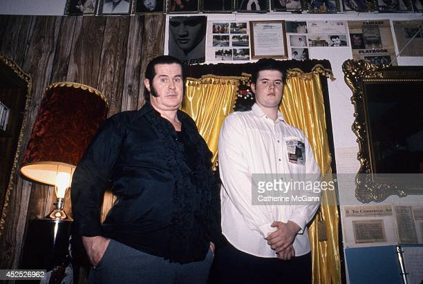 Elvis impersonator Paul McLeod and his son Elvis at his home 24 hour Elvis Presley museum Graceland Too in 1989 in Holly Springs Miss