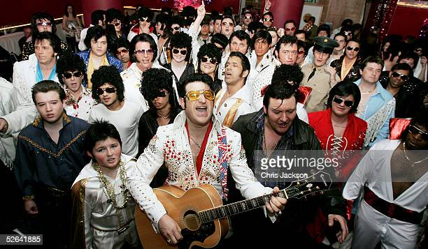 Elvis impersonators are seen at Selfridges department store to audition for their 'Searching For The King' contest as part of Selfridges' monthlong...