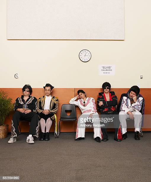 elvis impersonators waiting for callback - audition stock pictures, royalty-free photos & images