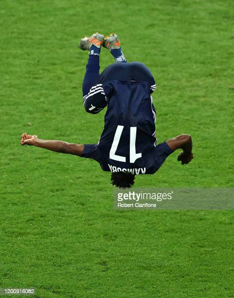 Elvis Kambosa of the Victory celebrates after scoring a goal during the AFC Champions League: Preliminary Stage match between the Melbourne Victory...