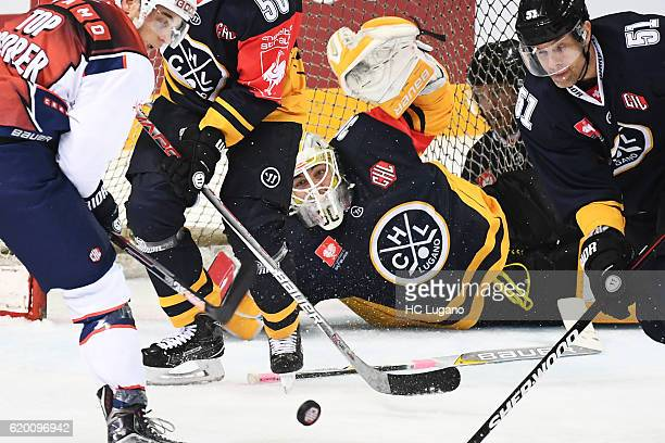 Elvis Merzlikins goalkeeper of Lugano during the Champions Hockey League Round of 16 match between HC Lugano and ZSC Lions Zurich at Resega on...