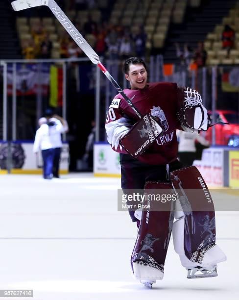 Elvis Merzlikins goaltender of Latvia celebrates after the 2018 IIHF Ice Hockey World Championship Group B game between Latvia and Germany at Jyske...