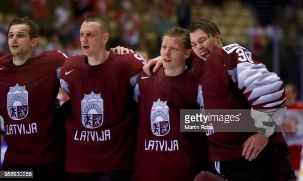 Elvis Merzlikins goaltender of Latvia celebrates after the 2018 IIHF Ice Hockey World Championship Group B game between Latvia and Denmark at Jyske...