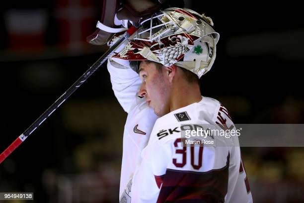 Elvis Merzlikins goaltender of Latvia looks on during the 2018 IIHF Ice Hockey World Championship group stage game between Norway and Latvia at Jyske...
