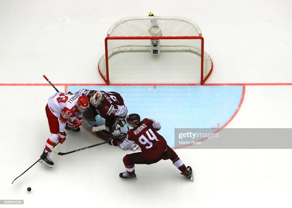 Elvis Merzlikins #30, goaltender of Latvia tends net against Patrick Russell #63 of Denmark during the 2018 IIHF Ice Hockey World Championship Group B game between Latvia and Denmark at Jyske Bank Boxen on May 15, 2018 in Herning, Denmark.