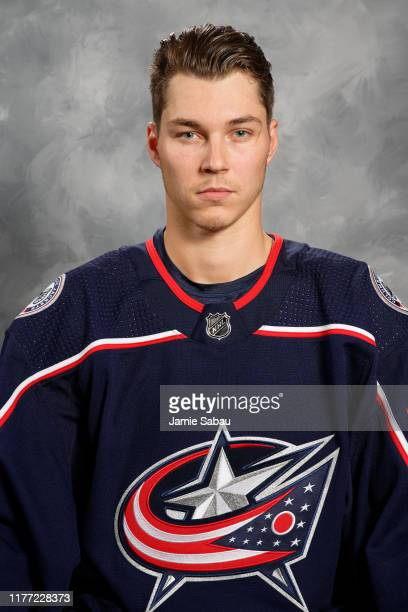 Elvis Merzlikins of the Columbus Blue Jackets poses for his official headshot for the 20192020 season on September 12 2019 at Nationwide Arena in...
