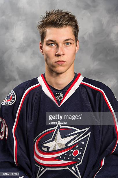 Elvis Merzlikins of the Columbus Blue Jackets poses for his official headshot for the 20142015 season on September 18 2014 at the Nationwide Arena in...