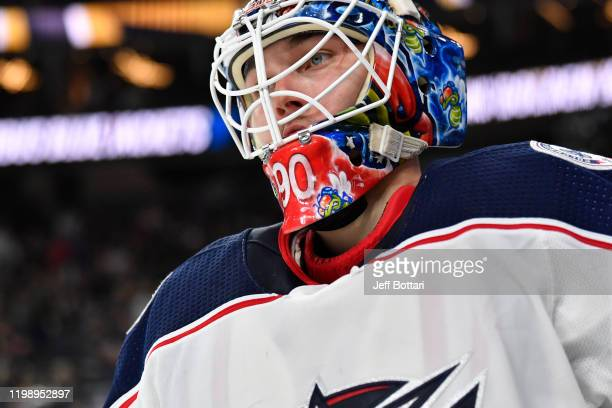 Elvis Merzlikins of the Columbus Blue Jackets skates during the third period against the Vegas Golden Knights at TMobile Arena on January 11 2020 in...