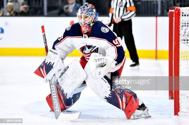 Elvis Merzlikins of the Columbus Blue Jackets tends net during the first period against the Columbus Blue Jackets at TMobile Arena on January 11 2020...