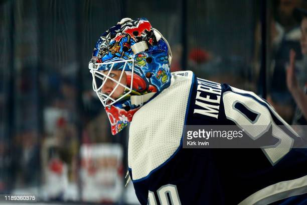 Elvis Merzlikins of the Columbus Blue Jackets warms up prior to the start of the game against the Montreal Canadiens on November 19 2019 at...