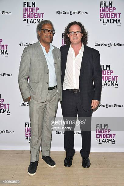 Elvis Mitchell and Davis Guggenheim attend the Film Independent at LACMA screening and QA of He Named Me Malala at Bing Theatre At LACMA on September...