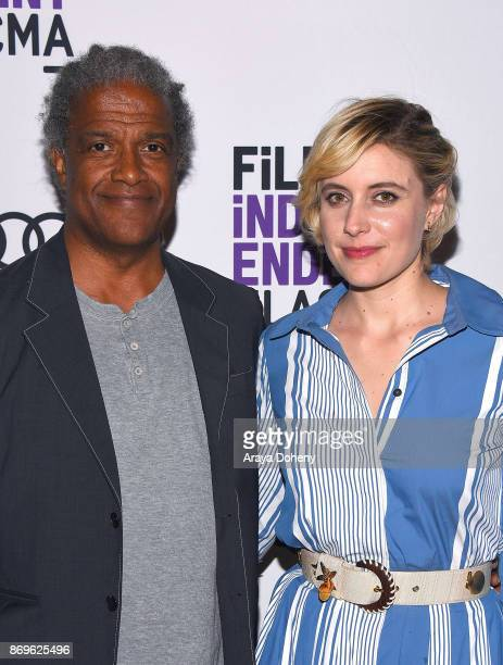 """Elvis Mitchell and Greta Gerwig attend the Film Independent at LACMA presents """"Lady Bird"""" screening and Q&A at Bing Theater At LACMA on November 2,..."""