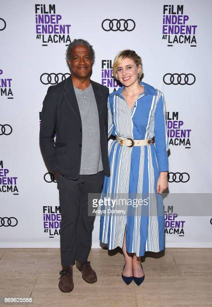 Elvis Mitchell and Greta Gerwig attend the Film Independent at LACMA presents 'Lady Bird' screening and QA at Bing Theater At LACMA on November 2...