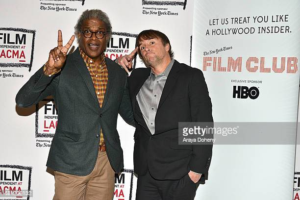 Elvis Mitchell and Richard Linklater attend the Film Independent at LACMA presents an evening with Richard Linklater at Bing Theatre At LACMA on...