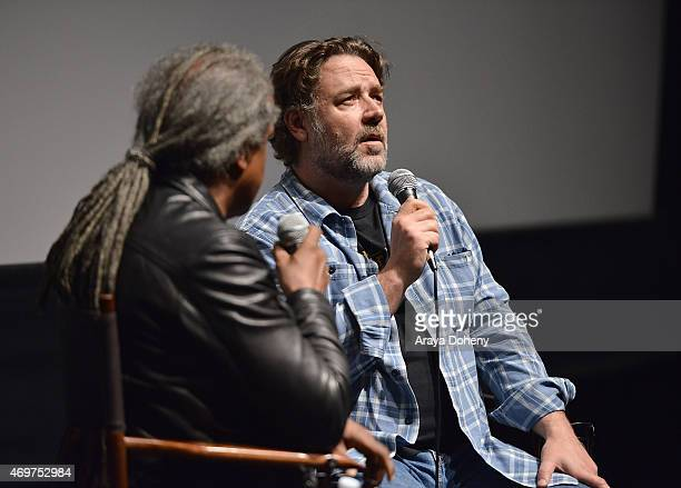 Elvis Mitchell and Russell Crowe attend the Film Independent screening and QA of The Water Diviner at Landmark Theatre on April 14 2015 in Los...