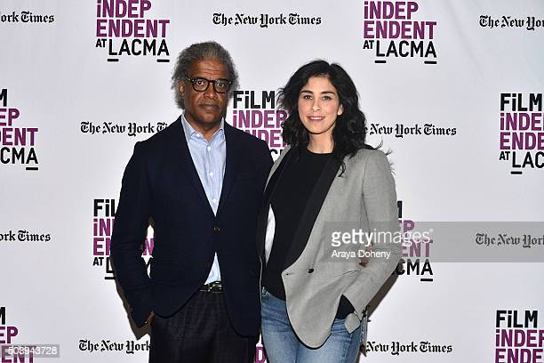 Elvis Mitchell and Sarah Silverman attend Film Independent at LACMA Presents...An Evening With Sarah Silverman at Bing Theatre At LACMA on January 7,...