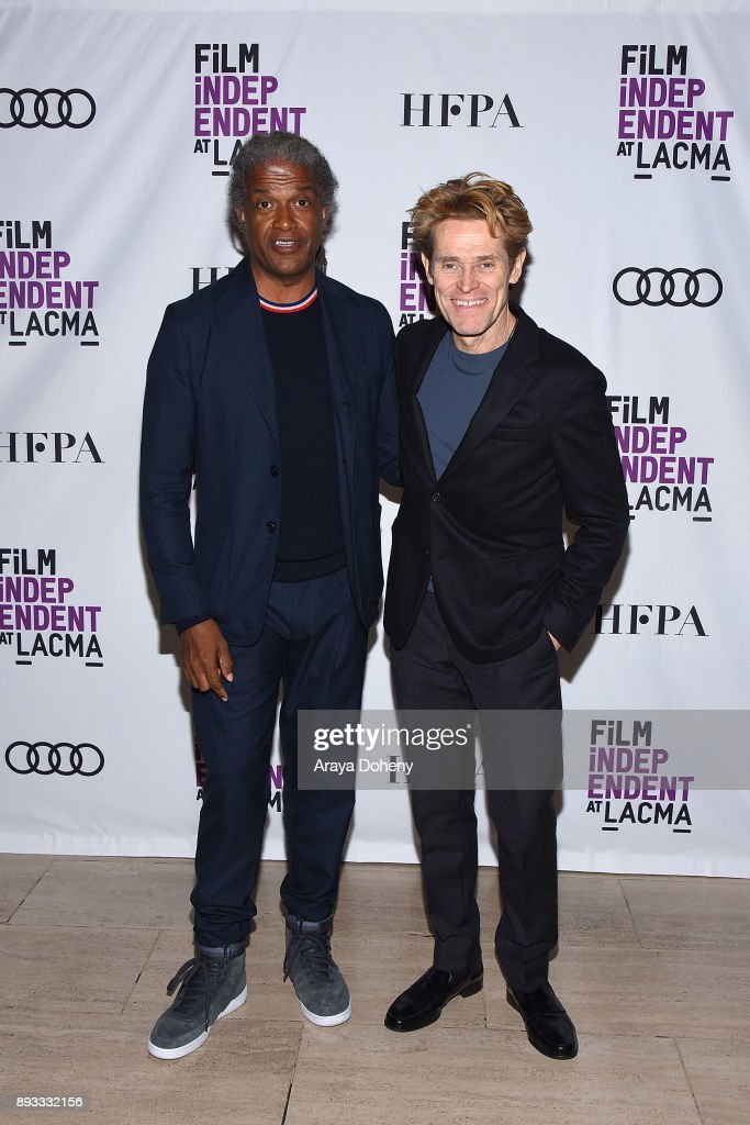 Elvis Mitchell and Willem Dafoe attend Film Independent at LACMA presents an evening with Willem Dafoe at Bing Theater At LACMA on December 14, 2017 in Los Angeles, California.