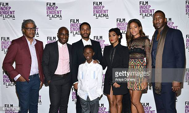 Elvis Mitchell Barry Jenkins Andre Holland Alex Hibbert Janelle Monae Naomie Harris and Mahershala Ali attend the Film Independent at LACMA screening...