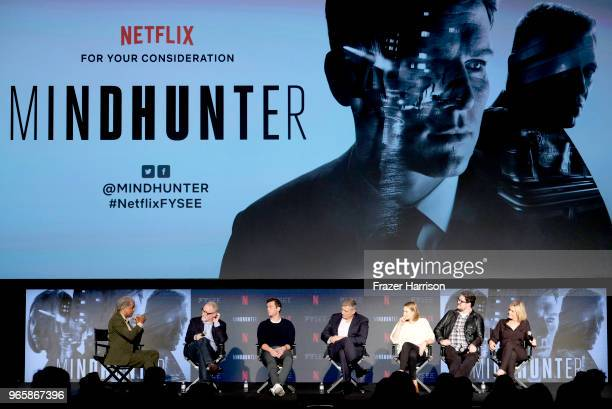 Elvis Mitchell David Fincher Jonathan Groff Holt McCullany Anna Torv Cameron Britton Laray Mayfield at Netflix's 'Mindhunter' FYC EventNetflix FYSEE...