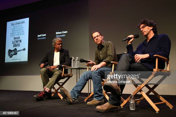 Elvis Mitchell Ethan Coen and Joel Coen attend Meet the Filmmakers at the Apple Store Soho on November 25 2013 in New York City