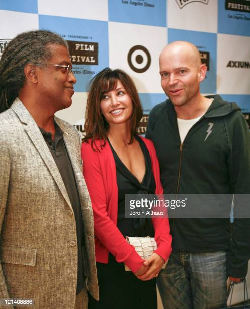 Elvis Mitchell Gina Gershon and Marc Forster during 2007 Los Angeles Film Festival 'Straight Time' Screening at Billy Wilder Theatre in Los Angeles...