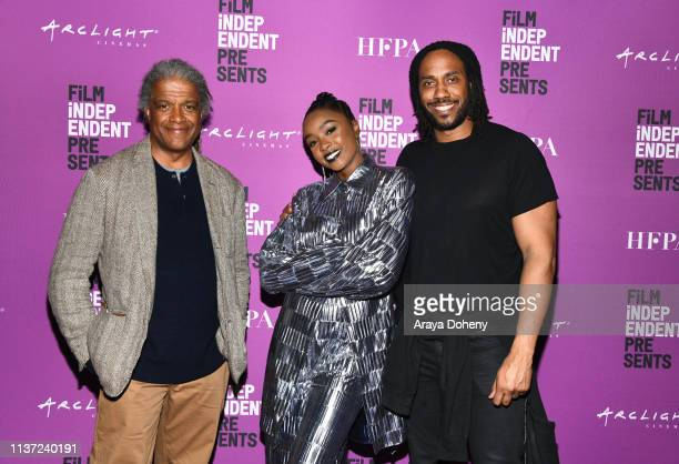 Elvis Mitchell KiKi Layne and Rashid Johnson at Film Independent Presents HBO Screening Series Native Son at ArcLight Hollywood on March 20 2019 in...