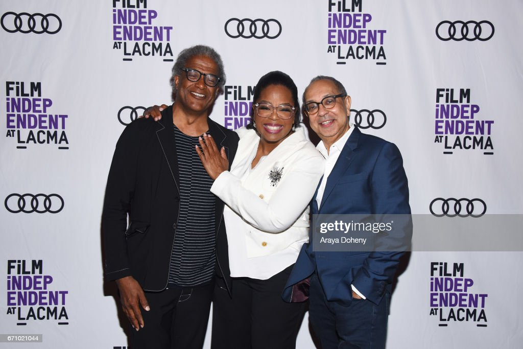 Elvis Mitchell, Oprah Winfrey and George C. Wolfe attend the Film Independent at LACMA Special Screening and Q&A of 'The Life Of Henrietta Lacks' at Bing Theatre At LACMA on April 20, 2017 in Los Angeles, California.