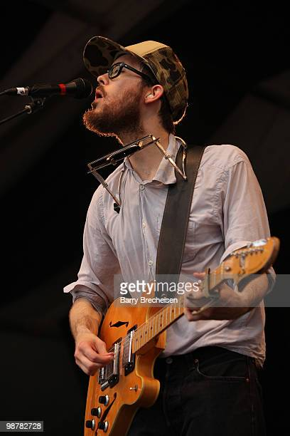 Elvis Perkins in Dearland performs during day 5 of the 41st Annual New Orleans Jazz Heritage Festival at the Fair Grounds Race Course on April 30...