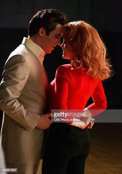 Elvis Presley and AnnMargret rehearing a scene from 'Viva Las Vegas' in ELVIS a fourhour miniseries which will be broadcast as the 'CBS Sunday Movie'...