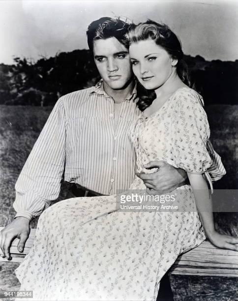 Elvis Presley and costar Debra Paget on the set of 'Love Me Tender' directed by Robert D Webb USA 1956