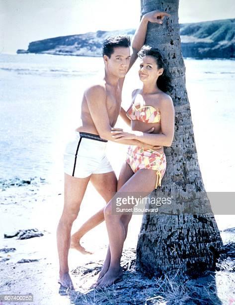 Elvis Presley and Joan Blackman on set of Blue Hawaii